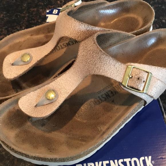 b194507d83d Birkenstock Shoes - BIRKENSTOCK Gizeh washed metallic rose gold